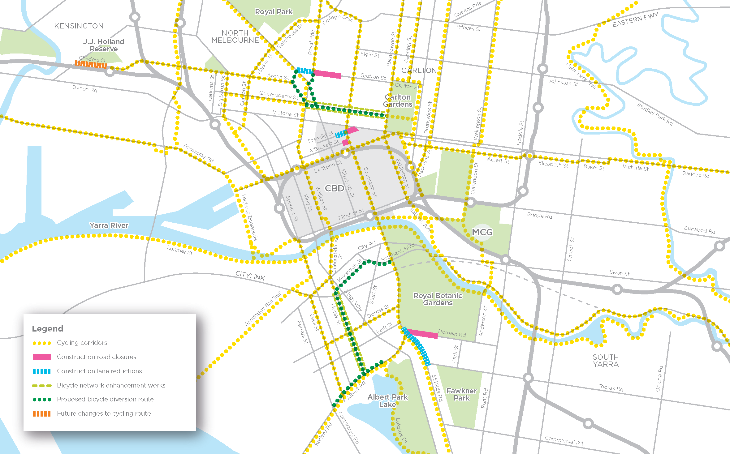 Bicycle network changes map