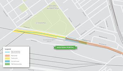 Click to view the full size map showing the Kensington tunnel entrance area