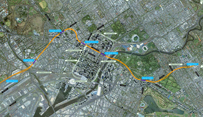 Click to view the full size map showing the current indicative alignment for Melbourne Metro