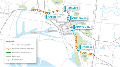 Click to view the full size graphic showing the alignment of Melbourne Metro Melbourne Metro