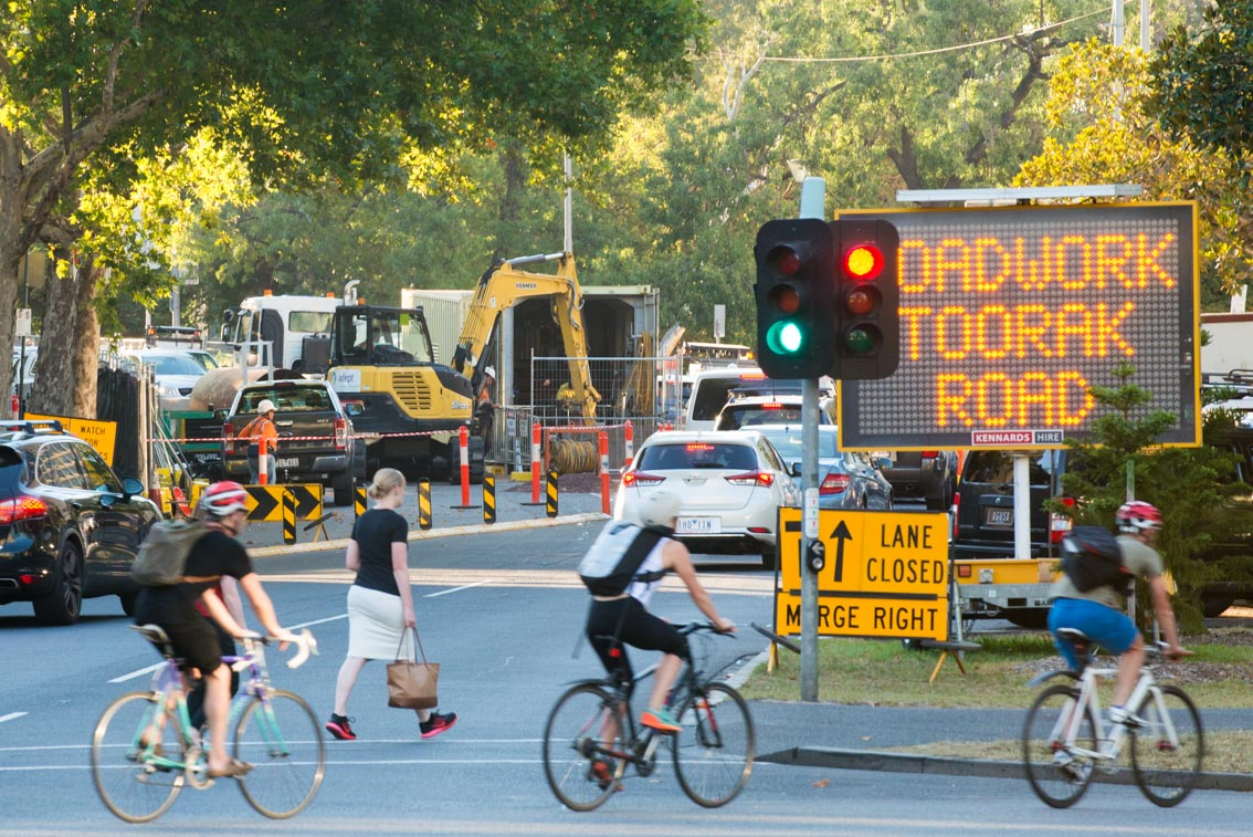 Traffic management signs on St Kilda Road for Toorak Road.