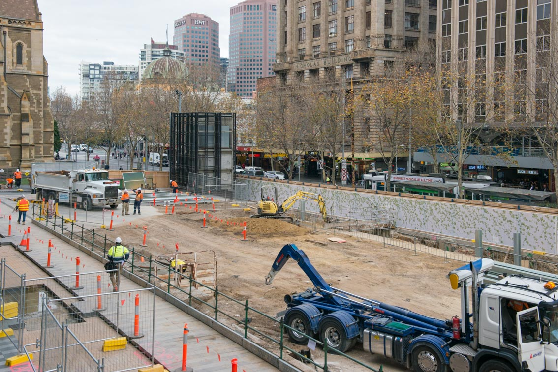 City Square work site with the Nicholas building in the background, June 2017.