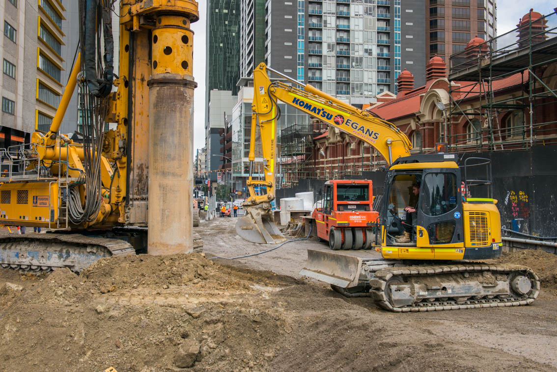 Piling at the Franklin Street site, July 2017.