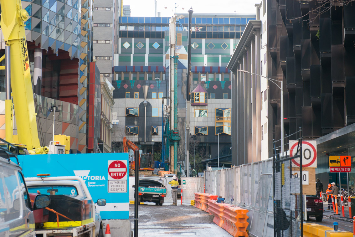 The A'Beckett Street work site, facing west, September 2017.