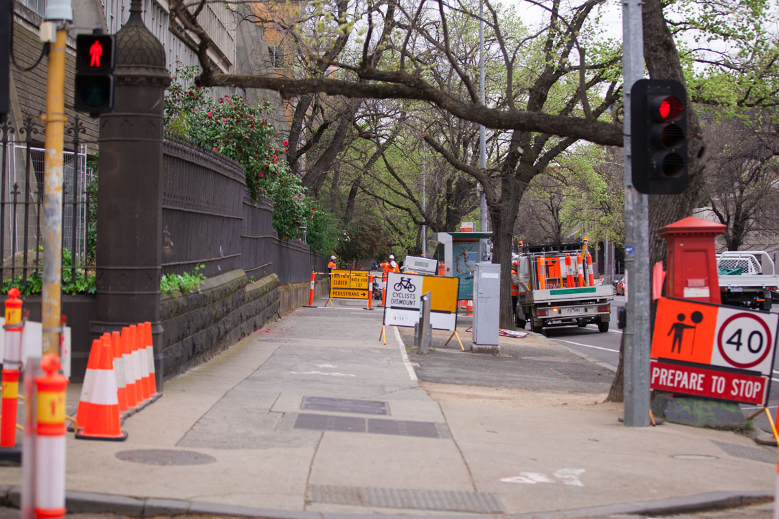 Signage of works infront of the Grattan Street entrance to the University of Melbourne.