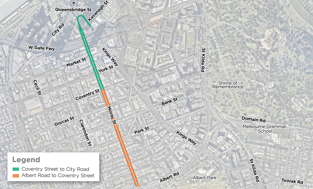 The two parts of the Moray Street design: Coventry Street to City Road and Albert Road to Coventry Street