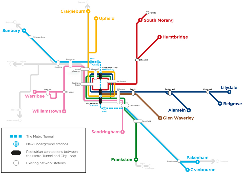 Overview map of the benefits of the Metro Tunnel