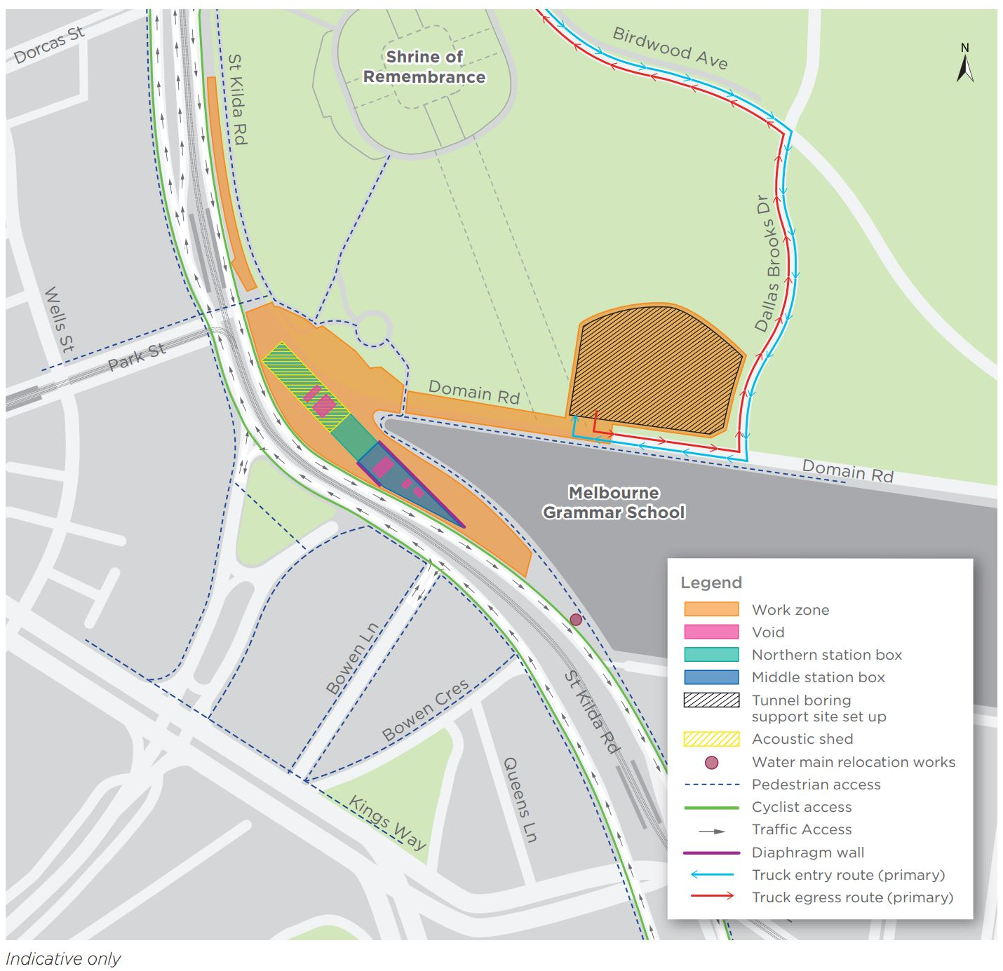 Map of Domain site including changes to pedestrian access