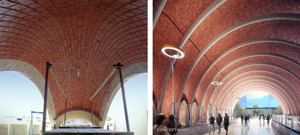 A photo of an arched brick segment under construction next to a concept image of the completed Arden Station with segmented, arched brick roof