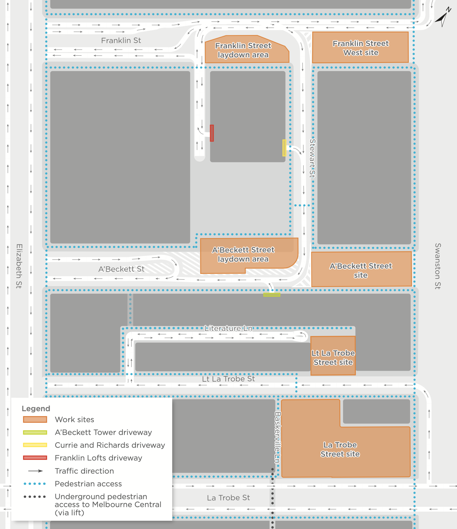State Library precinct access map from June 2021