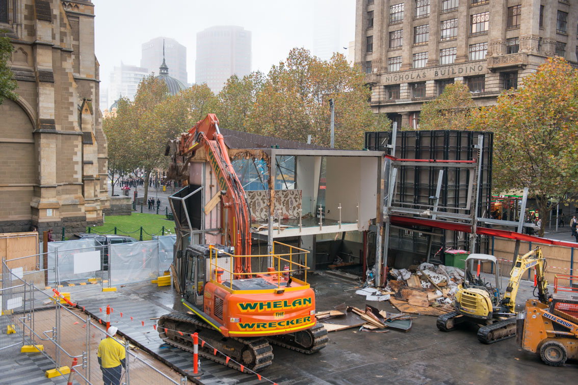 Demolition of Brunetti City Square, Nicholas building in the back, May 2017.