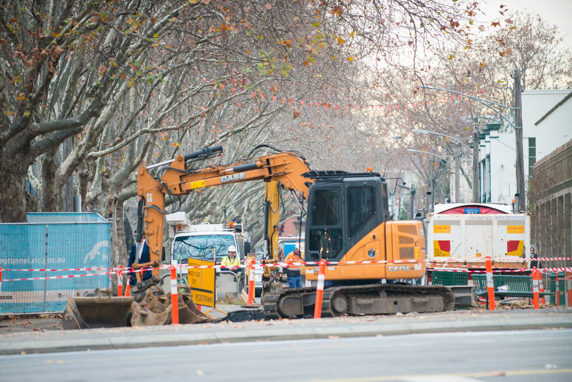 Road works for the Metro Tunnel at Domain Road.
