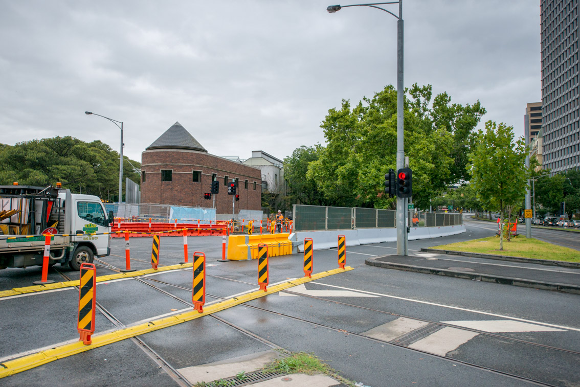 Domain Road and St Kilda Road intersection, January 2018.