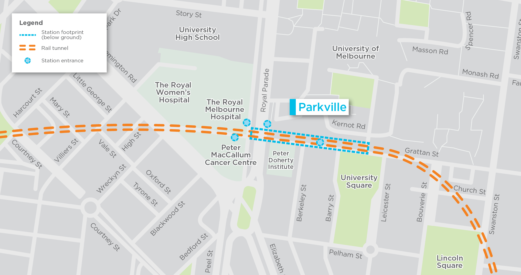 Map of Parkville Station precinct