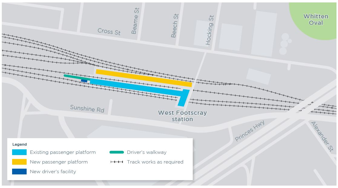 Image showing the location of proposed new station platform at West Footscray station, on the Cross St side