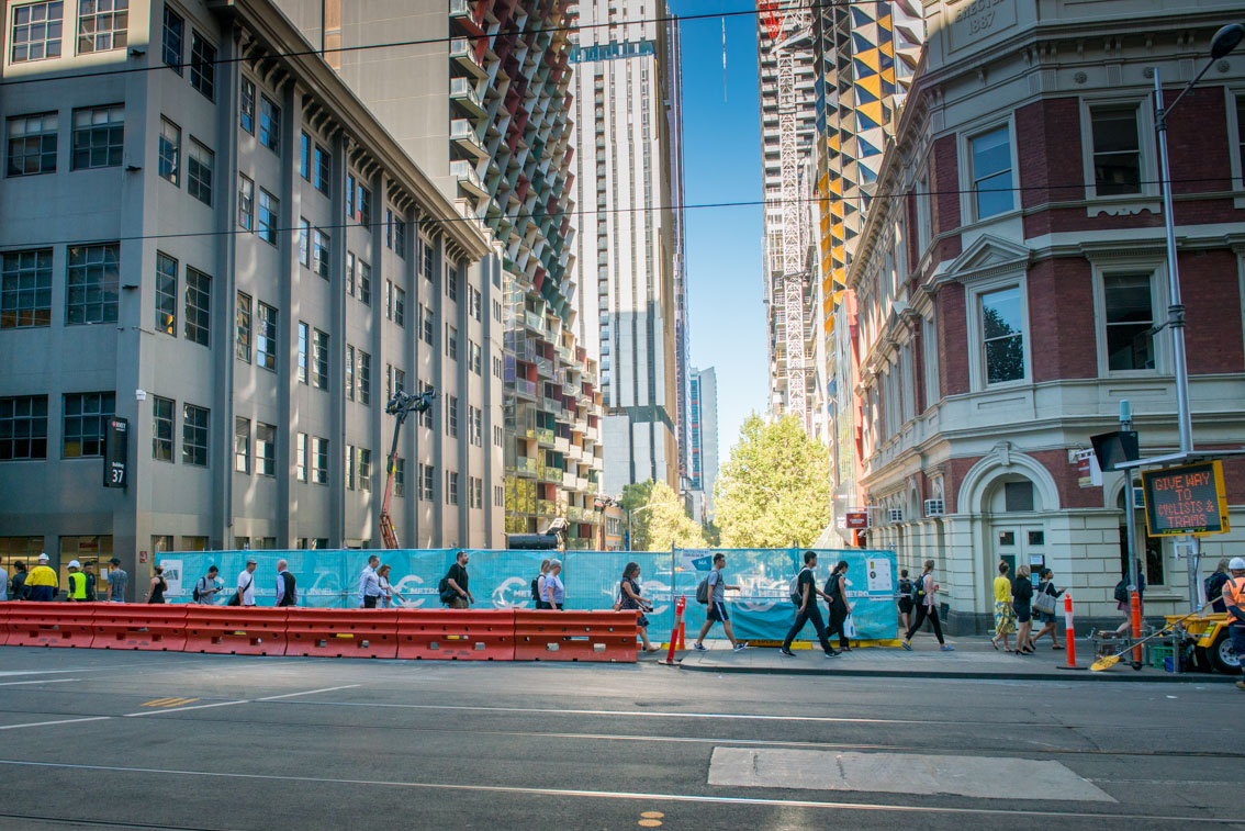 A'Beckett Street work site from Swanston Street, March 2017.