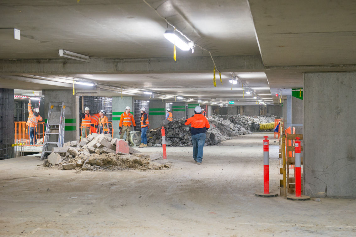 Workers inside the car park at City Square, August 2017.