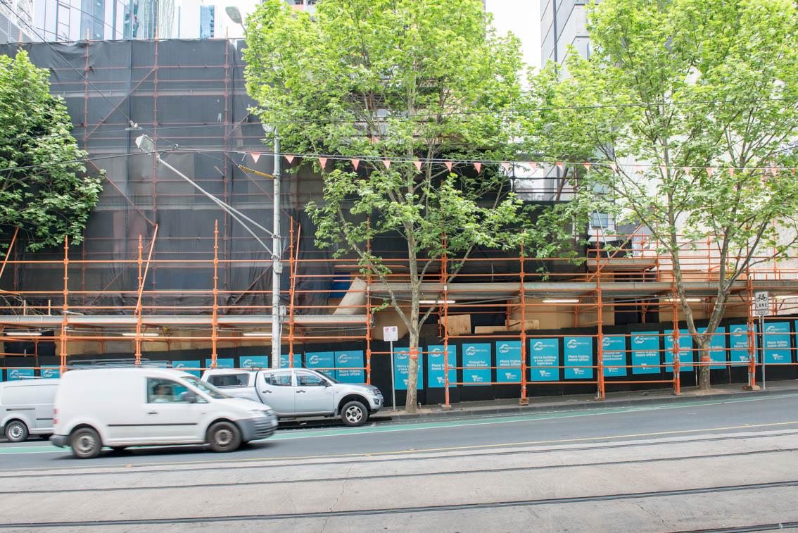 Metro Tunnel hoarding at the corner of Latrobe and Swanston streets in October 2017.