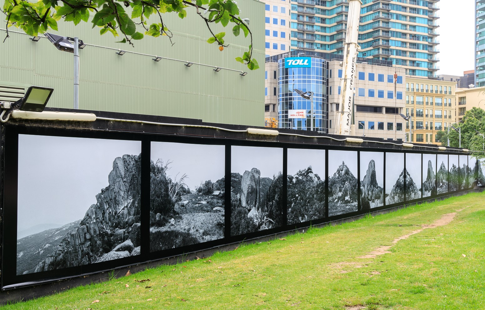 Photographic artworks in a park
