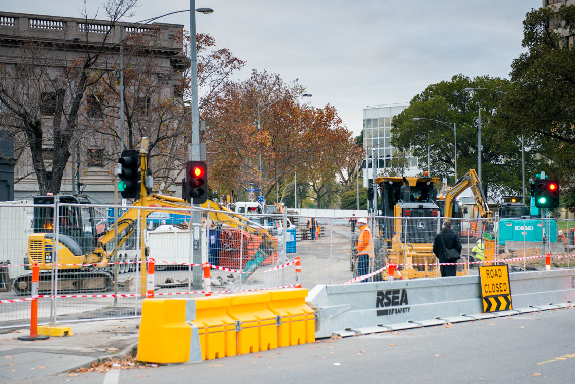 Road works for the Metro Tunnel at St Kilda Road.