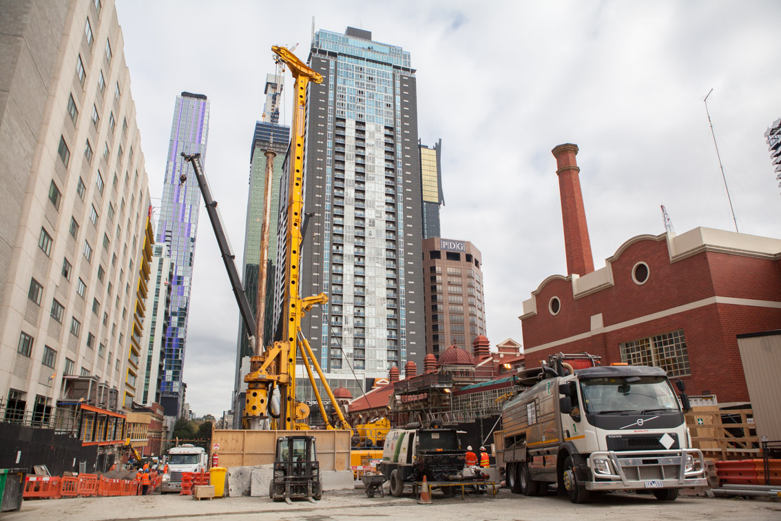 Piling works at the Franklin Street site, June 2017.