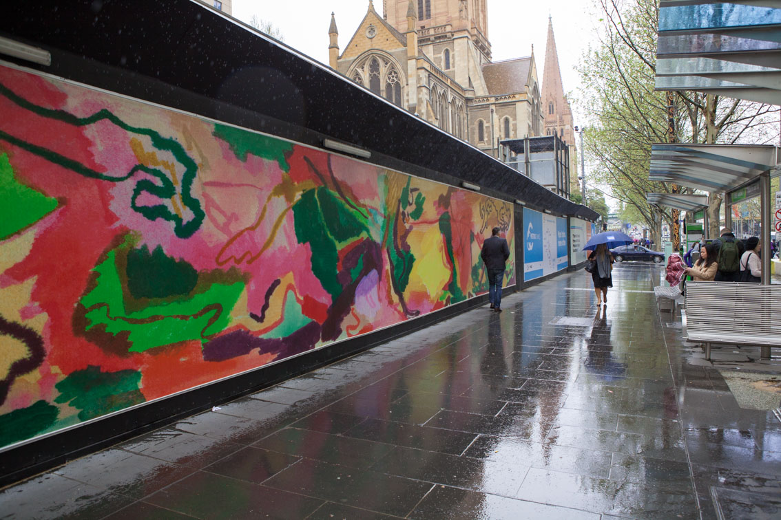 Swanston Street hoarding art at City Square, September 2017.