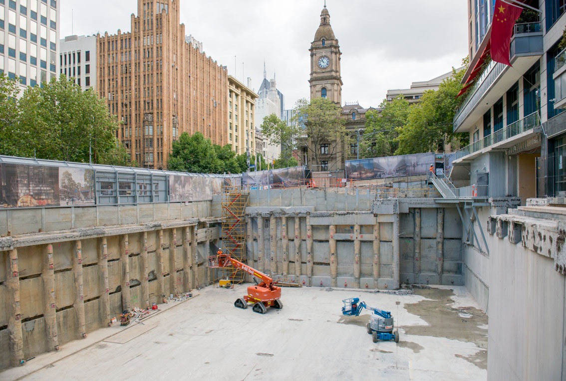 City Square work site and viewing windows nearby Collins Street, February 2018.