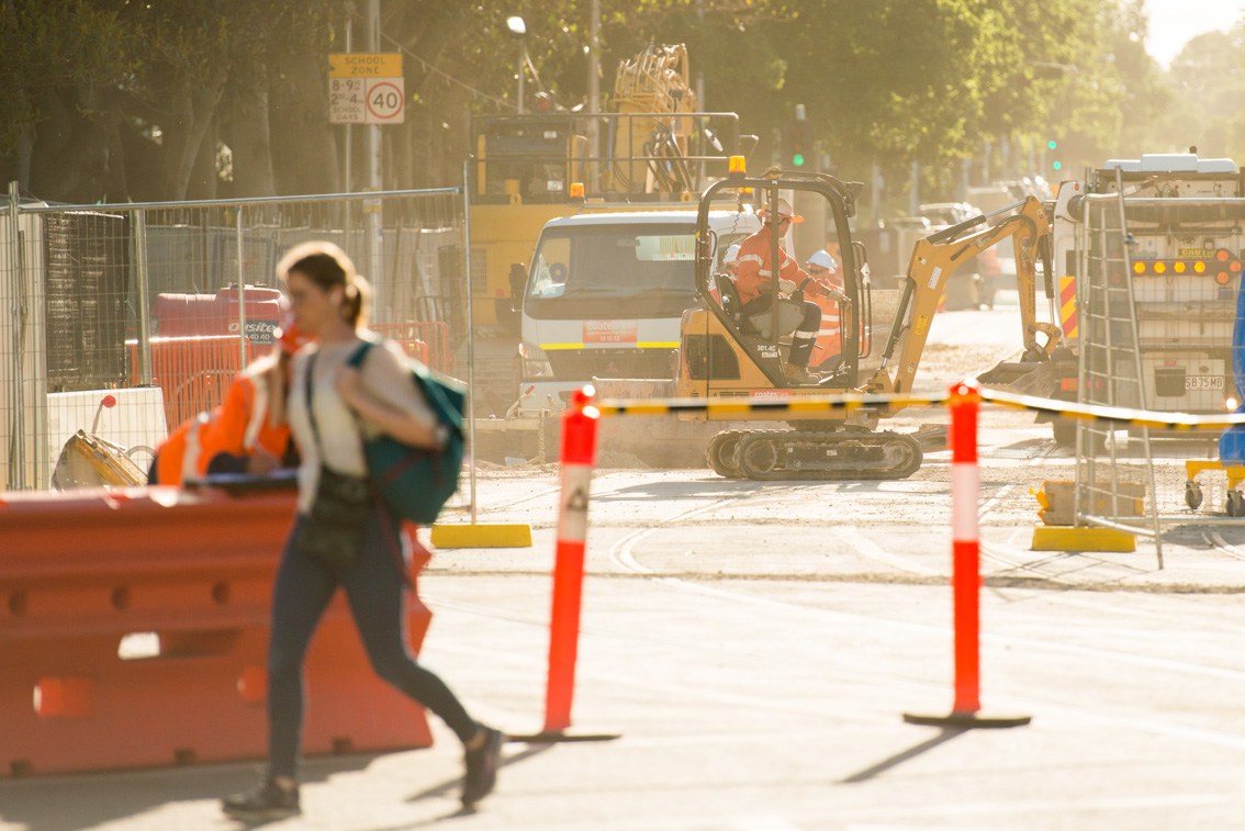 Domain Road works from St Kilda Road, December 2017.