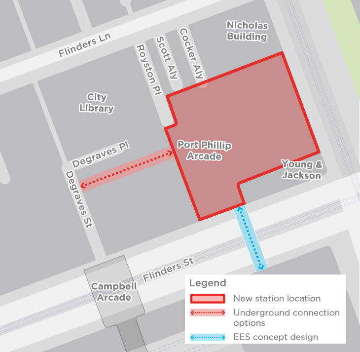 Connection from Town Hall to existing Degraves Street underpass