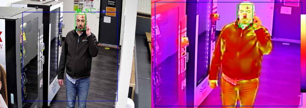 In two adjacent images a man is talking on the phone. In the first one his face has a green square outline. The second image is identical except that the colours are bright pink, orange and yellow, reflecting the heat mapping of thermal imaging technology.