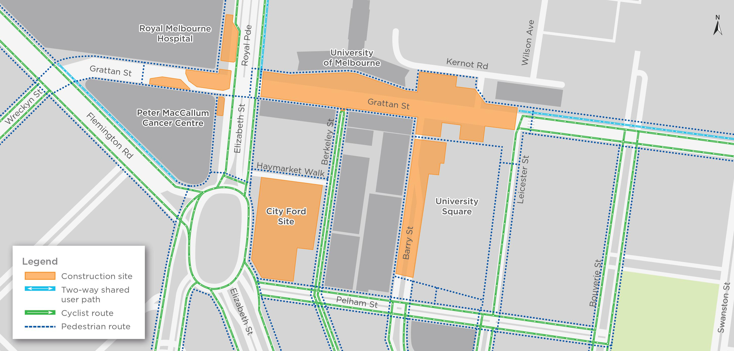 Map for Parkville pedestrian and cyclist pathways