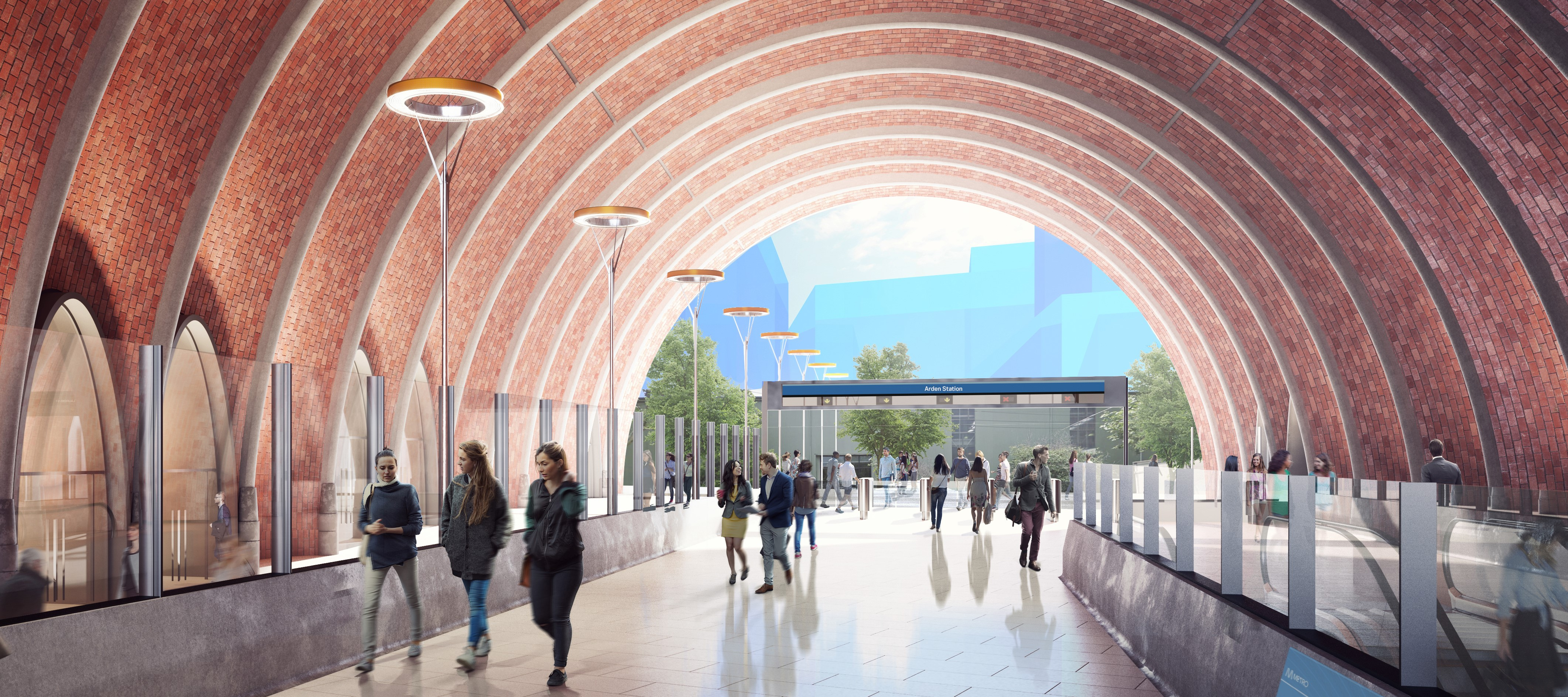 Concept image of brick arch entryway at Arden Station