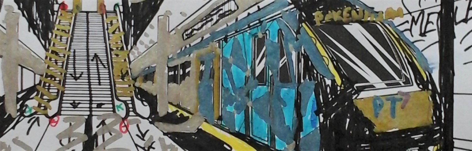 Colouring in of a train arriving at a station
