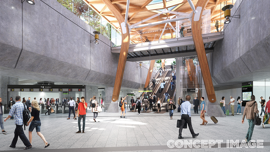Anzac Station concourse - concept image