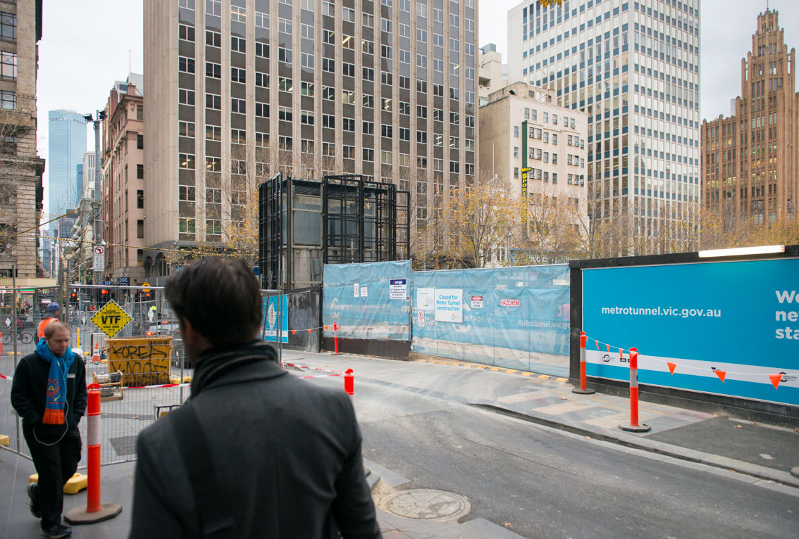 The Flinders Lane entrance to the City Square work site.