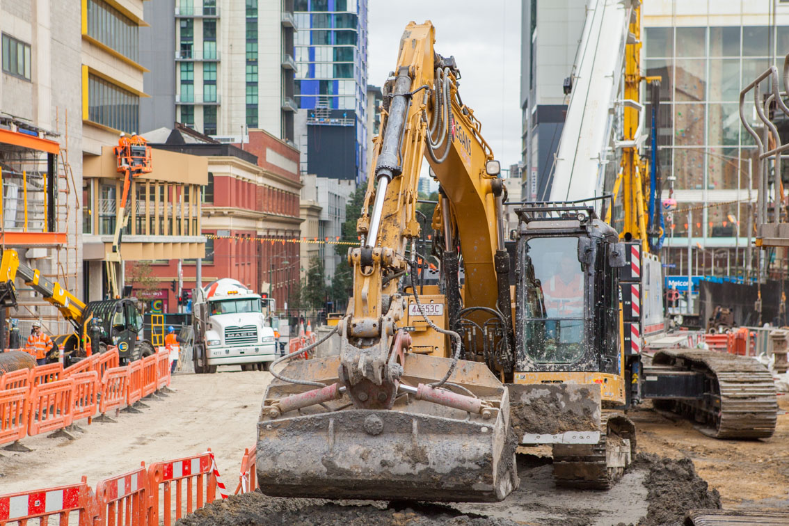 An excavator during piling works at Franklin Street.