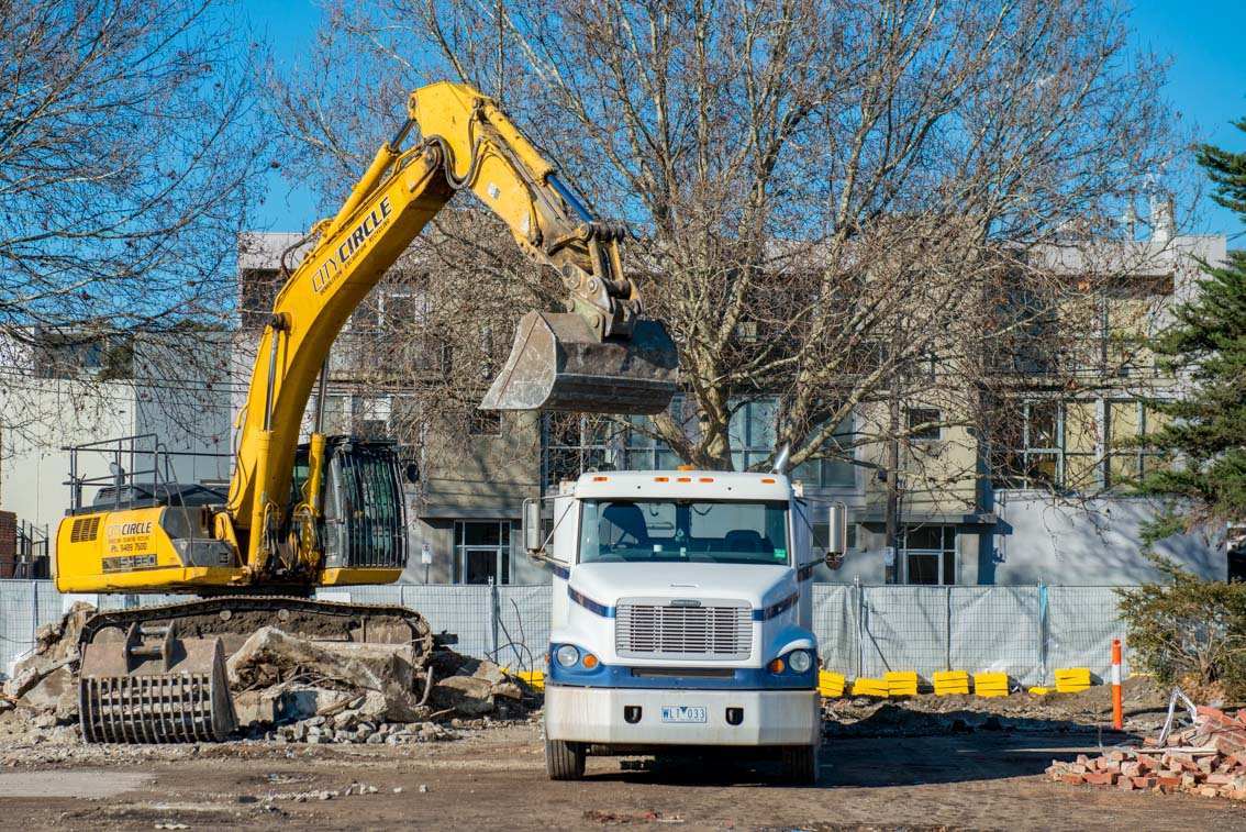 A truck and excavator.