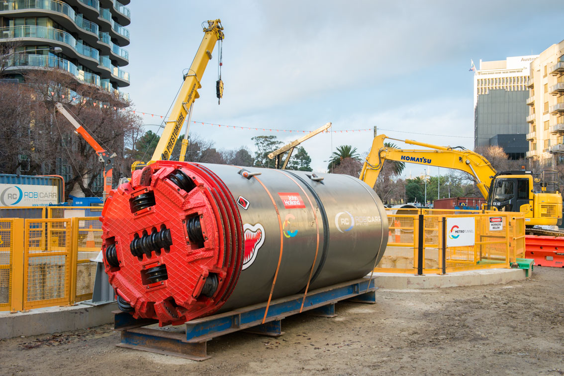 mini tunnel boring machine at Albert Road work site.