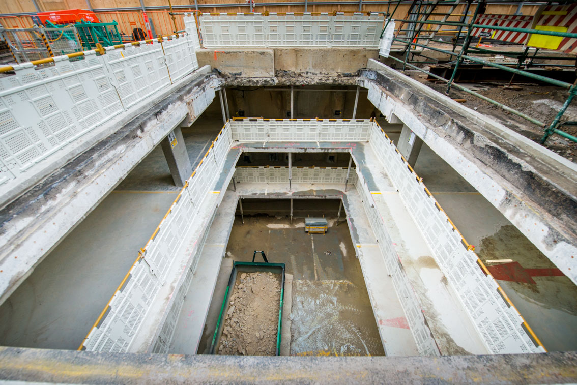 Inside the City Square work site, looking through levels of the car park, August 2017.
