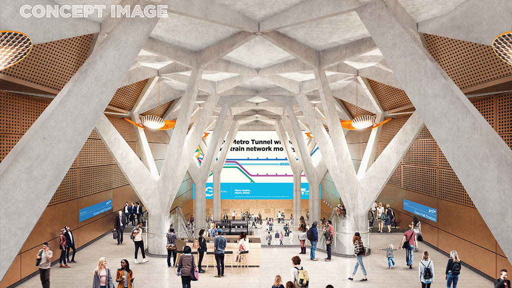 Concept image of Town Hall Station concourse