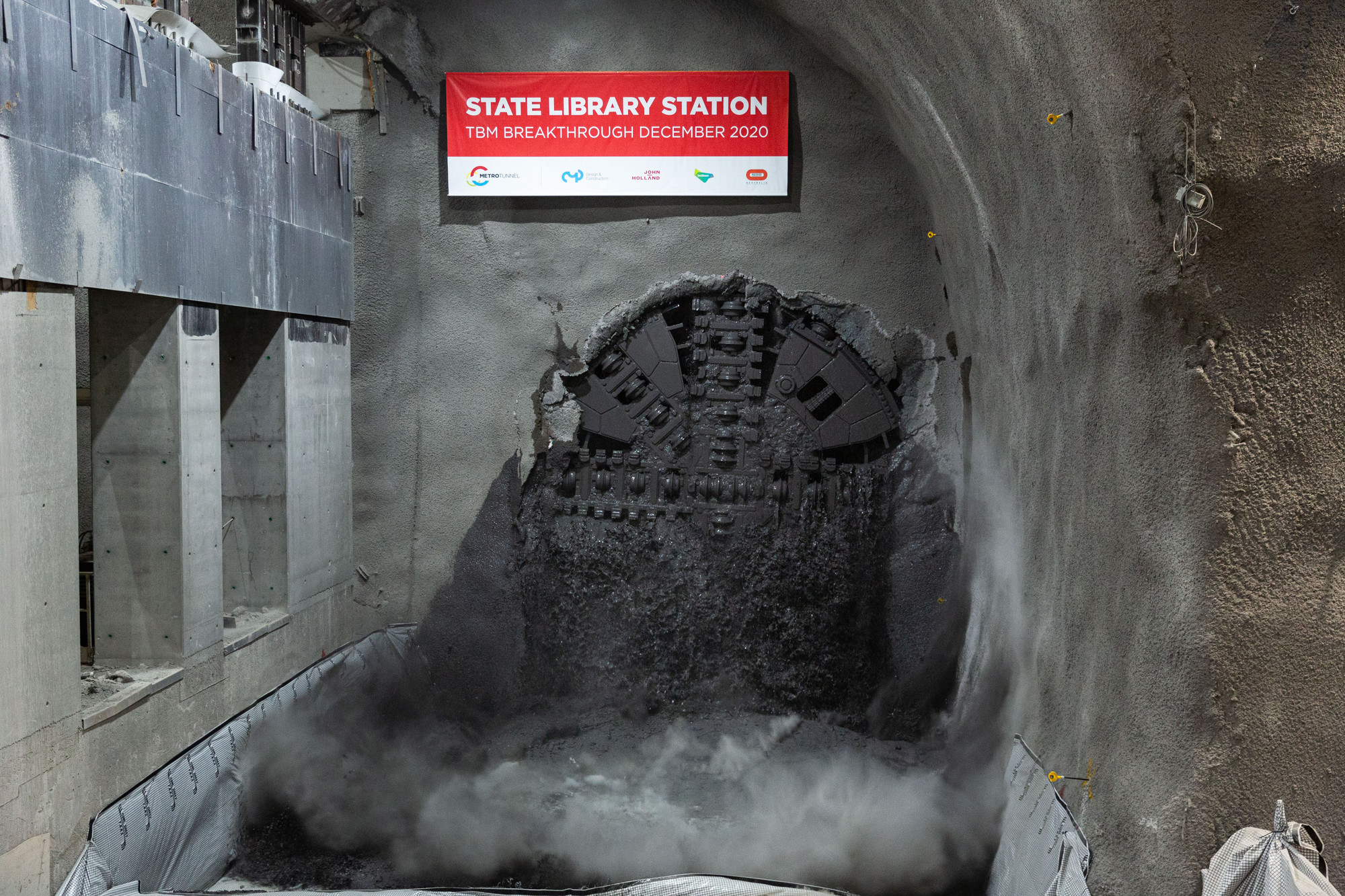 TBM Joan breakthrough at State Library Station December 2020
