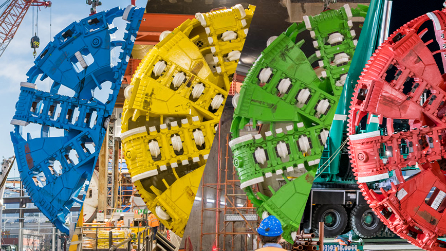 A composite image of four tunnel boring machine cutterheads in blue, yellow, green and red