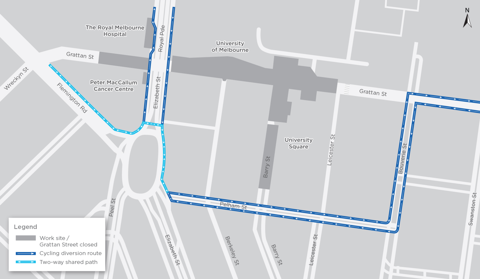 Map of changes cycling routes in Parkville