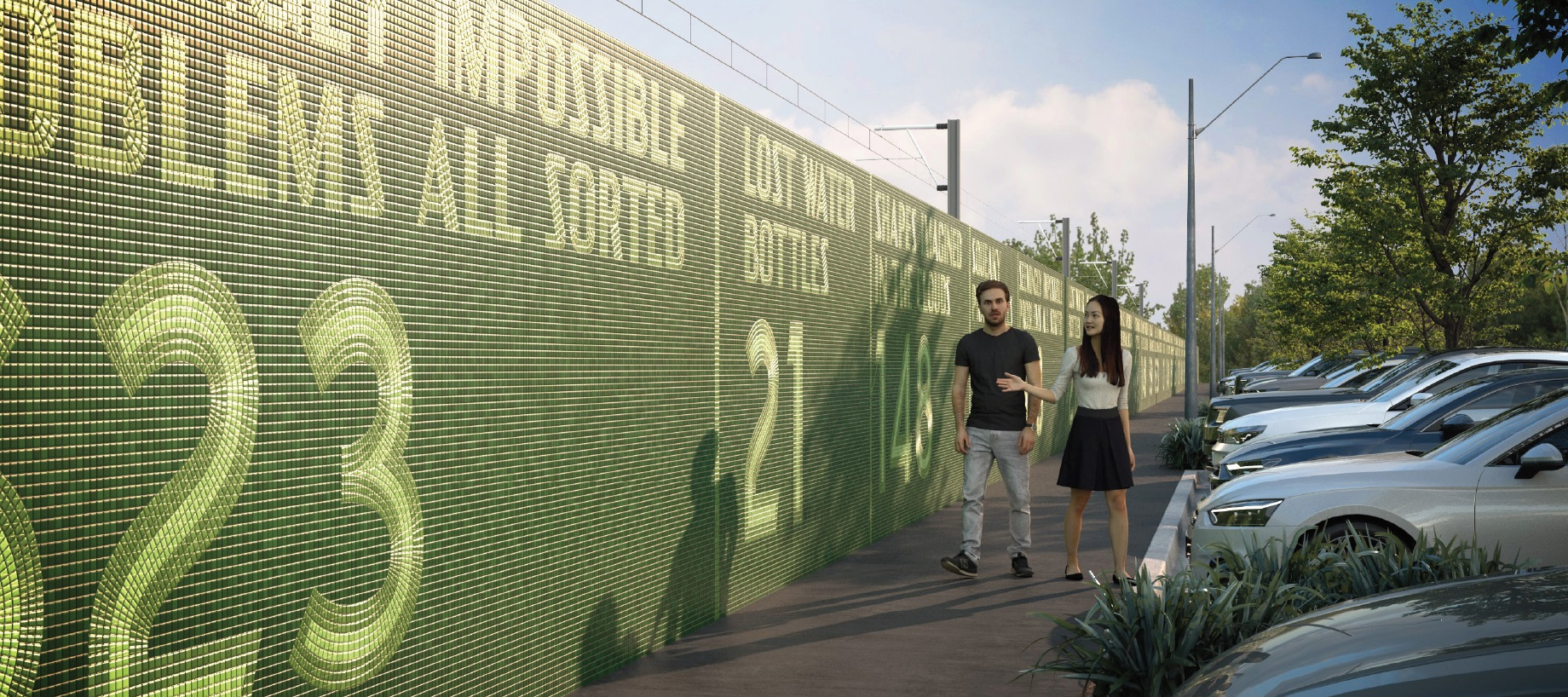Render of an artwork made of green tiles with numbers and words, and people walking in front