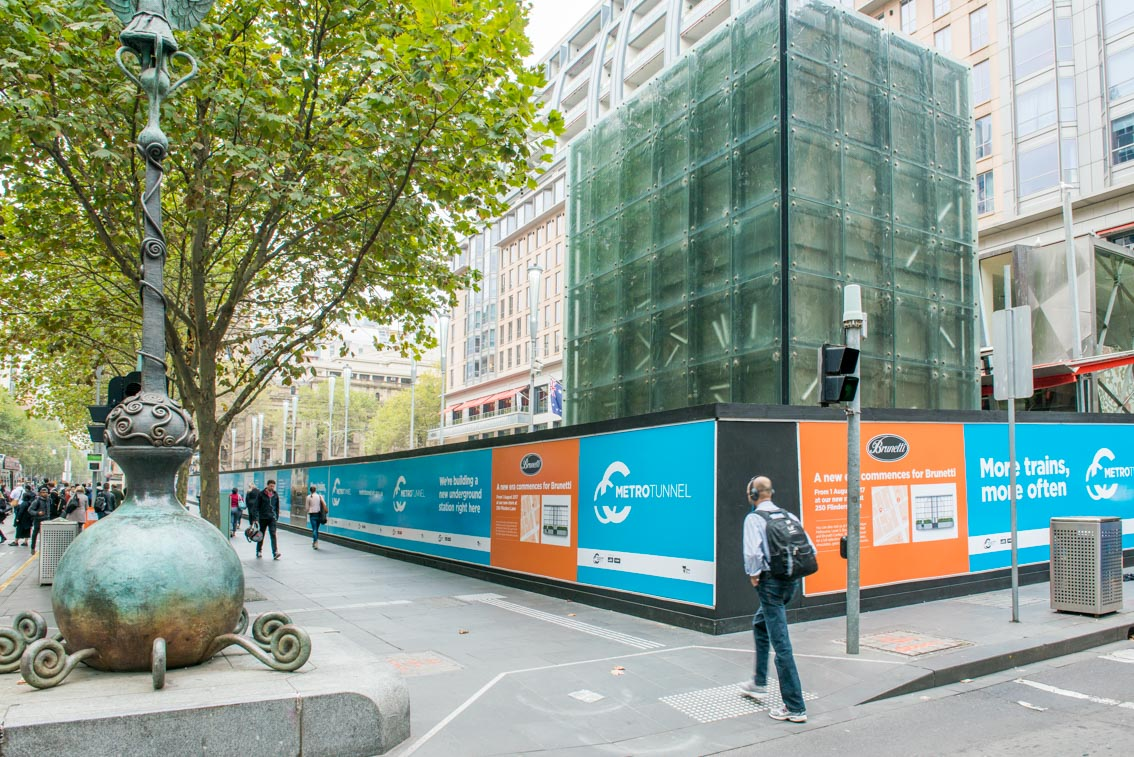 Corner of Swanston Street and Flinders Lane at City Square, April 2017.