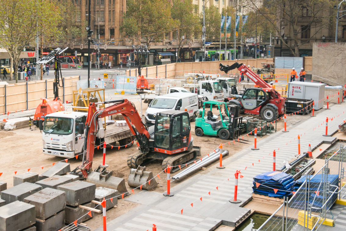 Construction machinery in the City Square work site, May 2017.