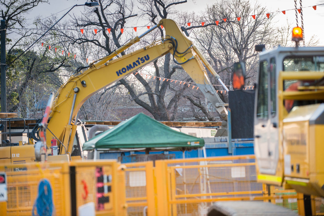 An excavator at Albert Road reserve work site.