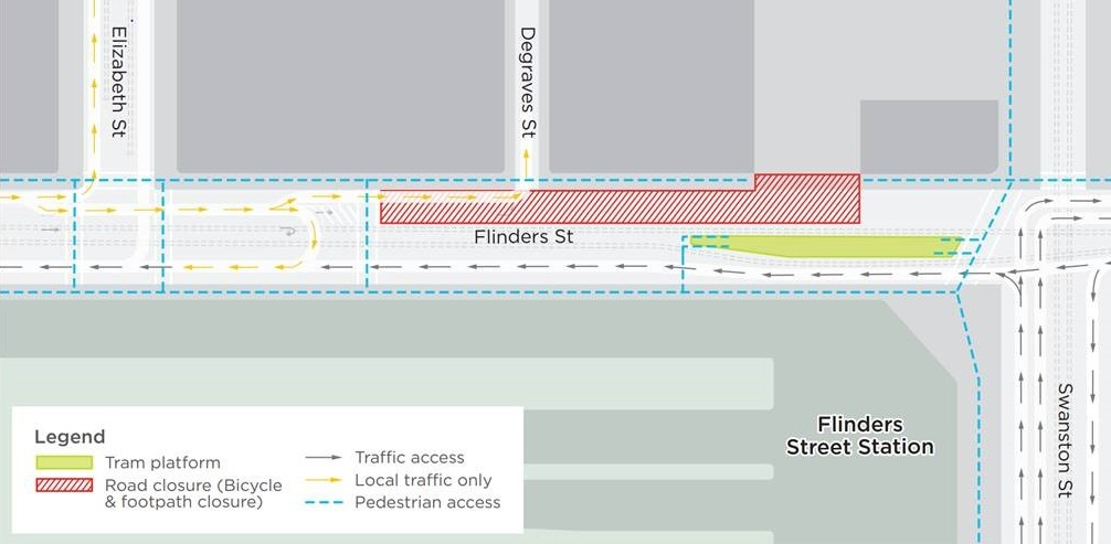 Map showing what sections of Flinders Street will be closed