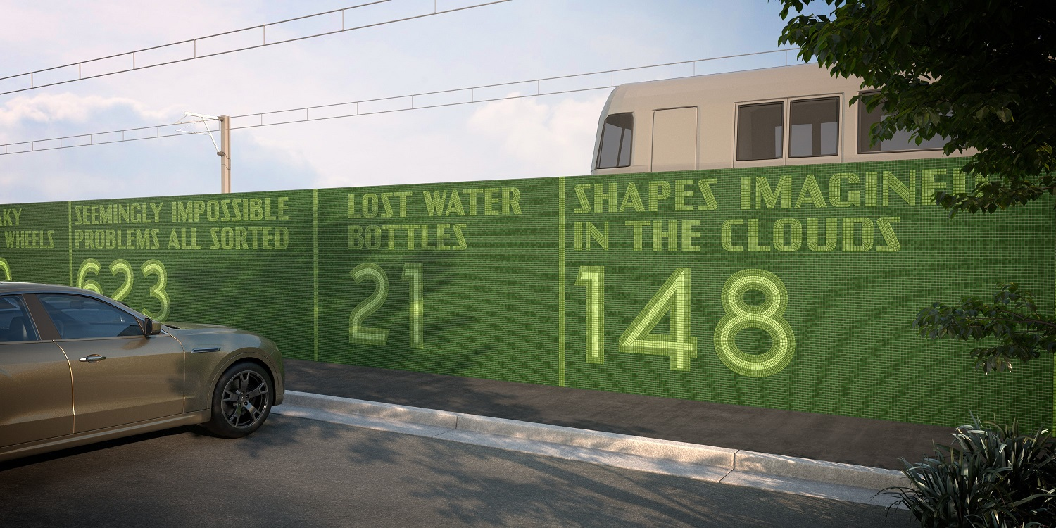 Render of proposed artwork of green tiles on a a wall showing the text 'Shapes imagined in the clouds: 148