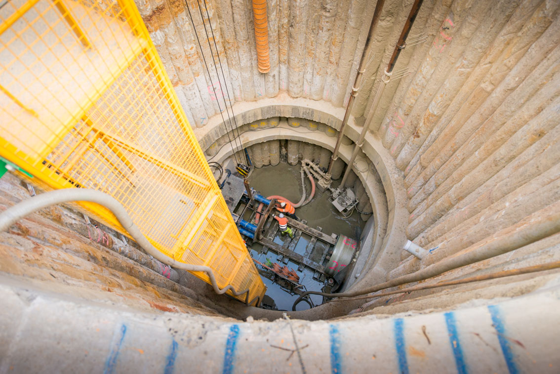 Inside a sewer access shaft  at Albert Road.